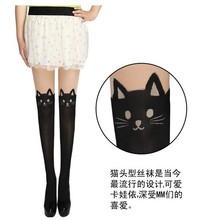 2017 New Design Fashion Fake High Sex Pantyhose Stockings Black Tattoo bear or Cat Leggings(China)