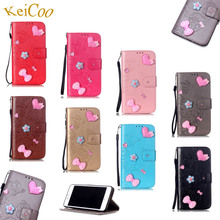 "Cute Bling Rhinestones PU Leather Phone Cases For Apple iPhone 6 Plus 5.5"" Book Flip Art Covers For iPhone6Plus TPU Full Housing(China)"