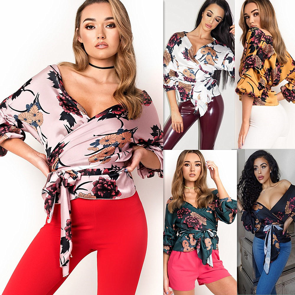 LOSSKY Women V-Neck Sexy Boho Blouse Print Floral Bandages Long Sleeve Blouse Bohemia Ladies Top Shirts Blouses Summer 2018 2
