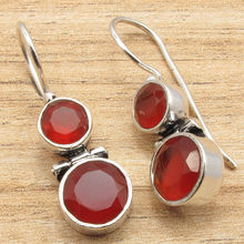 EXCLUSIVE Hinge Earrings, Red Fire Carnelian 2 Gems Silver Plated LOVELY Jewelry 3cm