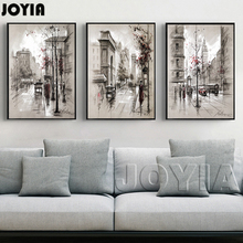 3 Piece Canvas Painting Abstract City Street Landscape Paintings Prints For Modern Living Room Bedroom Decor Wall Art No Frame(China)