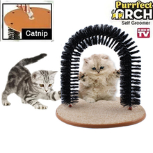 2016 New Plastic Bristles Purrfect Arch Cat Groomer Cat Massager Cat Scratcher Toy For Cat With Free Catnip(China)