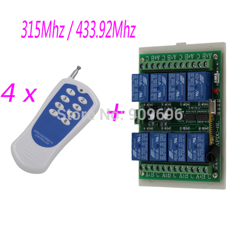 DC12V 8 CH Radio Controller RF Wireless Remote Control Switch System 315/433 Mhz Transmitter with Receiver<br>