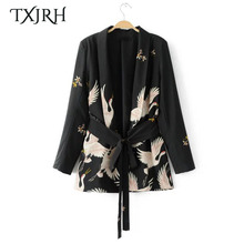 TXJRH Fashion Blazers Kimono Floral Cranes Black Sashes Suit Slim Jacket Long Sleeve OL Women Cardigan Tops Outerwear SY17-03-71