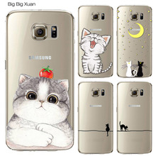 Cute Cat Pattern Case Cover For Samsung S5 S6 S6edge S6edge+ S7 S7edge Plus Transparent Soft Silicone Cell Phone Cases(China)