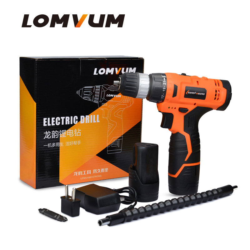 LOMVUM 12V Cordless Electric Drill Woodworking handheld mini drill screwdriver electric tool rechargable battery screwdriver<br>