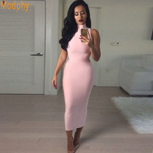 2017 Bridesmaid Wedding Party Dresses High Collar Sexy Women Rayon Sleeveless Pink Long Midi Elastic Bandage Dress Vestido HL566(China)