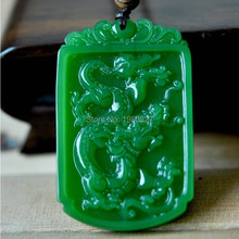 Natural Real HeTian Carved Dragon Lucky Amulet pendants Green Jade Pendant Necklace Fashion Jewelry Dropshipping