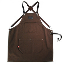 Long Denim Canvas Apron w/ Back X Leather Strap Barista Bartender Baker Catering Uniform Florist Barber Carpenter Work wear K39(China)
