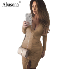 Buy Women Split Autumn Sexy Dress 2017 Cotton Black Vestidos Long Sleeve Dress Deep V White Pleated Bandage Bodycon Party Dress for $11.13 in AliExpress store