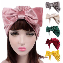 Women New Velvet Big Bowknot Turban Hat Cap Women Soft Bandana Hairband Hair Accessories Chemotherapy Cap Wraps(China)