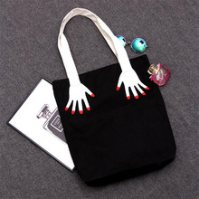 2016 Hot korea fashion finger embroidery canvas shopping bag version double sided printed beach bags Casual women handbags tote