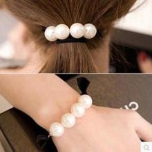 Korean Version Of The New Black Rubber Band Hair Rope, Tie Head Creative Simple Pearl Hair Accessories Hair Ring Wholesale