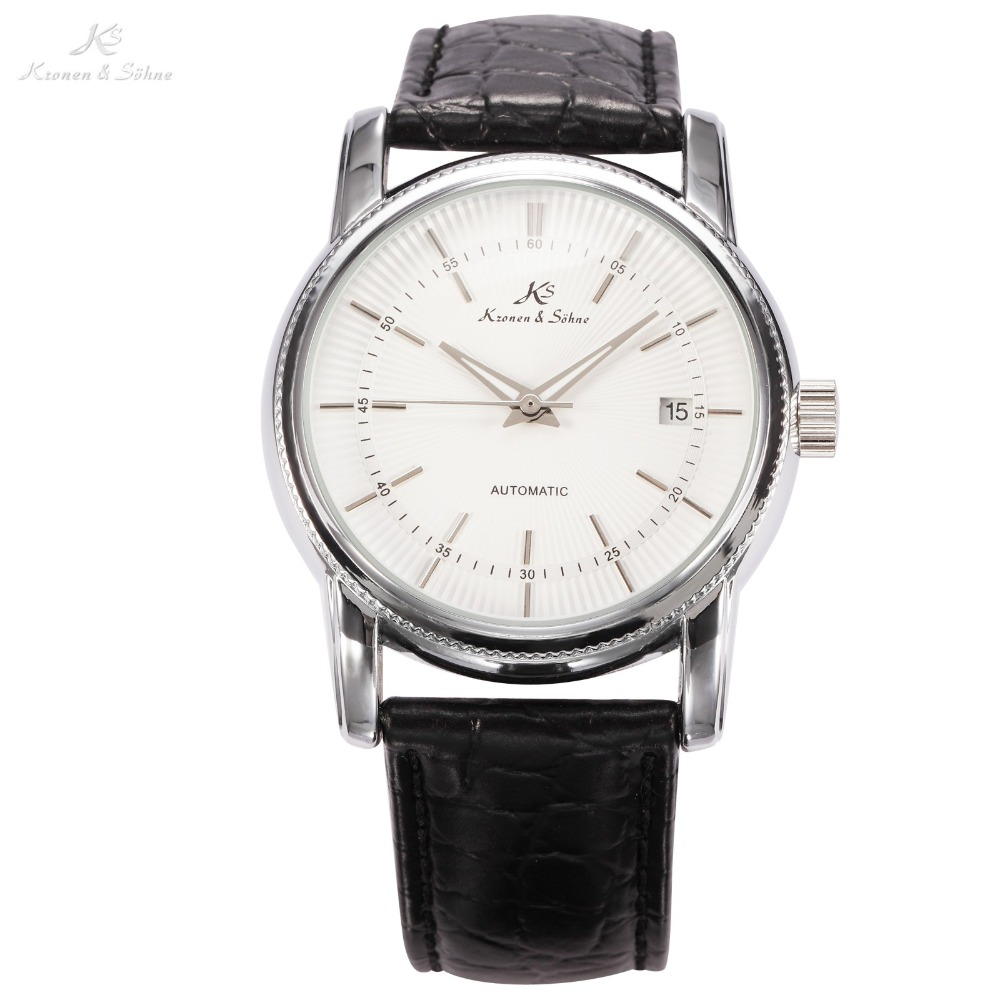 KS Imperial Series White Dial Silver Case Date Display Automatic Analog Leather Band Self Wind Clock Men Mechanical Watch /KS232<br>