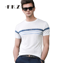 FKZ Popular Men t shirt Fashion Business Casual Male tshirts Thin Striped Solid Cotton New Men Wear Tops Tee Size S-XXL GNT7245(China)
