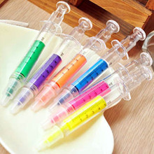 6 colors/a lot Creative Stationery Cute syringe Highlighter pen markers injection syringe Colorful pen novelty products 91