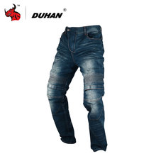 DUHAN Windproof Motorcycle Jeans Casual Pants Men's Motorbike Motocross Off-Road Knee Protective Moto Jeans Trousers(China)