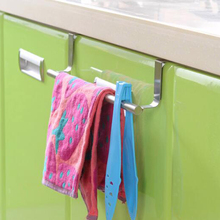 Stainless Steel Towel Bar Holder Over the Kitchen Cabinet Cupboard Door Hanging Rack Storage Holders Accessories B2