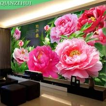 Qianzehui, рукоделие, diy цветущий пион шелк вышивки крестом, полный вышитые пион вышивка крестом, стены Домашнего декора(China)