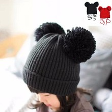 Girl Boy Red Winter Warm Knit Hat Toddler Hairball Beanie Cap