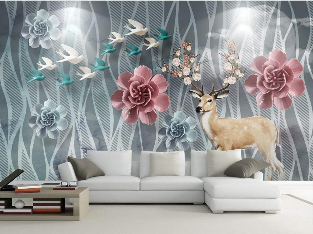 wedding background wallpaper Custom 3d modern Forest flowers 3d wall paper for living room wallpaper non-woven<br>