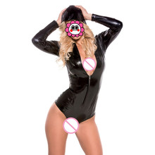 Buy Abbille PU Leather Bodysuit hooded Women Jumpsuit Long Sleeve Zip Romper Ladies PVC Playsuit Sexy Overalls Erotic Leotard Latex