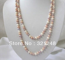 "Free shopping new  DIY 7-8mm white pink purple freshwater pearls necklace 50"" GE4514"