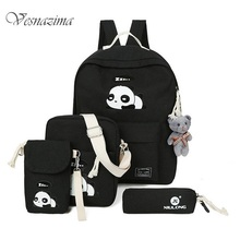 Panda backpacks for children backpack set bags for kids child phone bag pink cartoon school bags pencil holder gray blue WM532LH