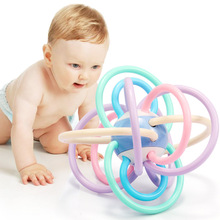Baby Teething Toy Rattles Children's Educational Grasping Baby Teeth Bell Train Soft Ball Rattle Colorful Baby Rattles