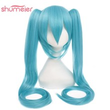 Shumeier 5Colors Blue Pink Long Straight Synthetic Cosplay Wigs Costume Party Wig With Two Ponytails