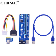 CHIPAL VER006 0.6M PCIE PCI-E 1x to 16x Riser Card Extender + USB 3.0 Data Cable / SATA to 4Pin IDE Power Cord for Bitcoin Miner(China)