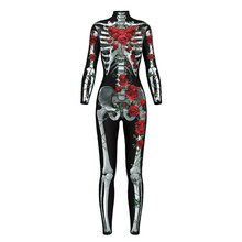 2018 Halloween Skeleton Print Scary Horror Costume Play suit Barbed Rose Lange Sexy Strech Black Cosplay Jumpsuit Bodysuit F3(China)