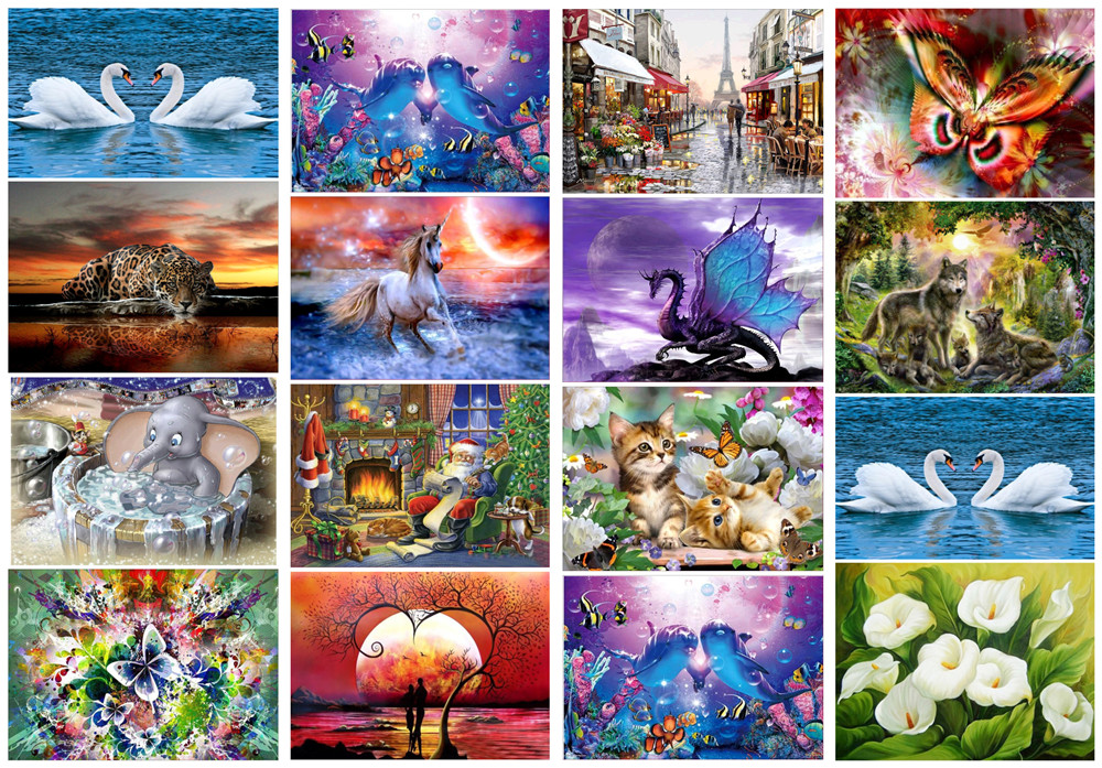 5D Diamond Painting Embroidery Cross Crafts Stitch Sea Flowers Vase Animal Decor