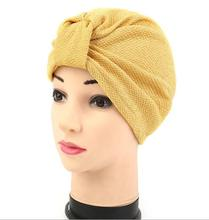 Hot Bandanas Muslim Headscarves Women's Modal Hair Warp Chemo Pleated Pre Tied Head Cover Up Bonnet Turban India Cap(China)