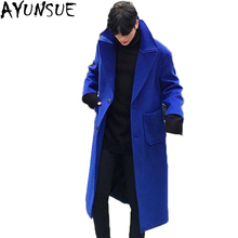 AYUNSUE Winter Cashmere coat men long wool jacket Wram Thick Double breasted Overcoat Pea cot for men  plus szie Outwear LX1105