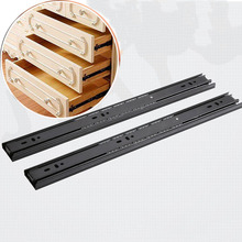 2PCS 16 Inch Drawer Guide Slide Steel Ball Bearing 10 To 20 Inch Desk Guide Linea Rail Furniture Hardware For Cabinets Wardrobe(China)