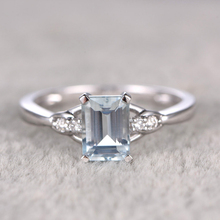 1ct round cut Aquamarine &White Topaz side stone Engagement Ring Ring For Women Wedding set 14K white Gold Gemstone Bridal Set