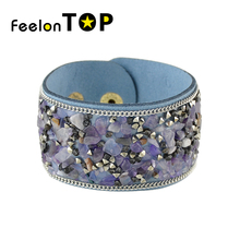 Bohemian Style Indian Bracelets Wide PU Leather Blue Black Red Stone Wrap Bracelets Female Wristband turkish jewelry