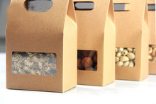 10*15.5*6cm 500pcs/lot stand up brown Kraft Paper bag Party Gift Packing Box Cookie/Candy/Nuts bag/DIY Gift Handle Packing Box(China)
