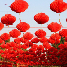 20pc/lot 8'' 20cm Waterproof Red Paper Lantern Traditional Chinese Lamp Pompon For Home Wedding Party Festival Decoration