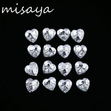Misaya 100pcs Heart Shape Silver Back Rhinestone Buttons 18x18 mm 2 Holes Crystal Buttons for Sewing Garment Accessory