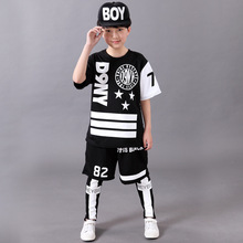 Children`s Sports Suit Boy Casual Tracksuit Kids Hip Hop Dancewear Boys Summer Clothes Cool Fashion Black White Brand 2016 New
