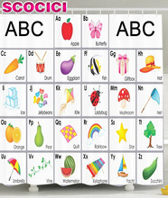 Kids Shower Curtain Funny Educational Alphabet Letters Kite Xylophone Ladybug Zucchini Drum Lovers Art Prints Nursery Bathroom S