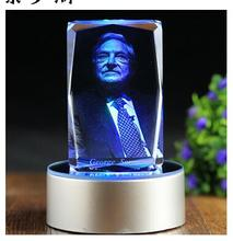 GOOD ART  # Financial giant-- Stock negotiable securities spirit  George Soros 3D crystal company office Desk art statue--
