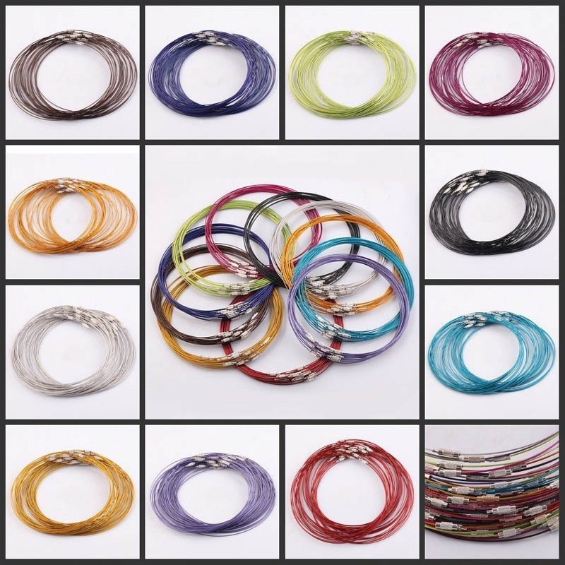 10 Pcs 1mm Wire Cable Steel Chain Stainless Charms Cords Necklace 45cm(China)