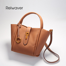 Relwaver cowhide split leather handbag totes crossbody bags for women vintage style soft trapeze mini shoulder bags women bag(China)