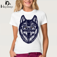 Hepeep brand+ 2017 new fashion printing T-shirt super cute women's short sleeve fun wolf in glasses tee shirt hipster girl tops