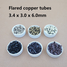 1000pcs 3.4*3.0* 6mm 3.5mm flare Euro Lock  copper tubes Micro Rings links beads for stick I tip  hair extensions tools