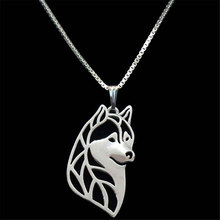 Siberian Husky Pendant Silver Necklaces Dog Charm Handmade Christmas For Pet Lovers Women Dog Jewelry Stores 10pcs(China)