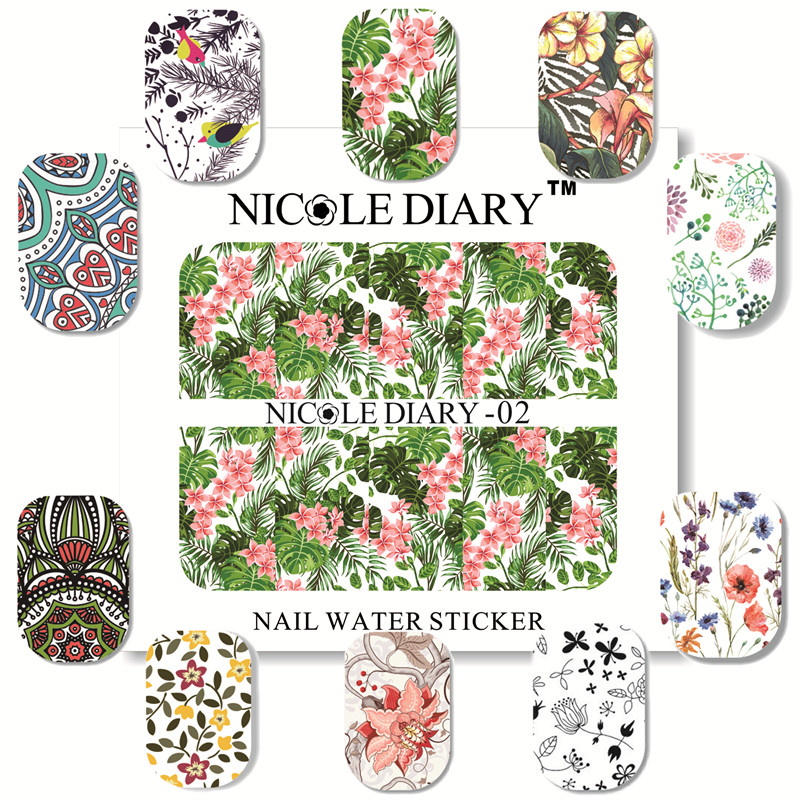 NICOLE DIARY Nail Art Water Decals Flowers Patterns Stickers Sheet on Fingers  Nail Art Tattoo A1<br><br>Aliexpress
